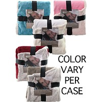 """Reversible Flannel Fleece with Sherpa Throw - 50""""x60"""" - Assorted"""