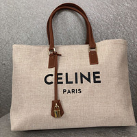 CELINE WOMEN'S CANVAS HANDBAG INCLINED SHOULDER BAG SHOPPING BAG