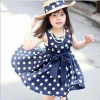3~11age Cotton Woven Navy/White Cute Knee Length Princess Casual Girl Dress = 1876629700
