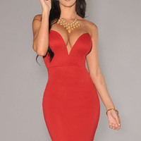 Red Plunging V Neckline Strapless Bodycon Dress
