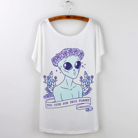 "Harajuku Kawaii Alien ""Too Cute For This Planet"" Shirt"