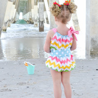 chevron one piece girls toddler baby bubble sunsuit romper with dottie sash