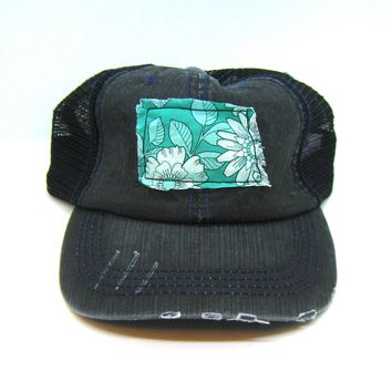 North Dakota Hat - Black Distressed Trucker Hat - Aqua Daisy Applique - All United States Available