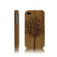 Best Handmade Carved Bamboo iPhone 4/4s Cases- A Big Tree-dark