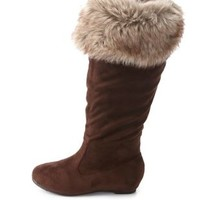 Faux Fur-Cuffed Knee-High Boots by Charlotte Russe - Brown