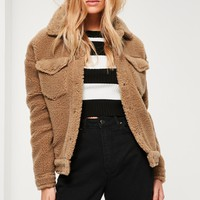 Missguided - Camel Faux Shearling Trucker Jacket