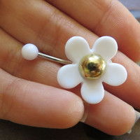 Mod White Daisy Flower Power Belly Button Jewelry Navel Ring Piercing Bar Barbell Hippie Stud