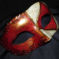 Red, Gold and Ivory Diamond Mask