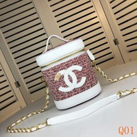 274 Fashion Pop Leather Canvas Knit Chain Retro Zipper Flap Ducket Bag 16-19-11cm