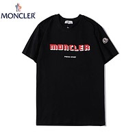 MONCLER Summer New Fashion Letter Print Women Men Top T-Shirt Black