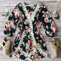 June Crochet Trim Floral Romper