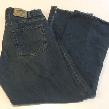 Vintage Men's Levis, Signature Levi Strauss Men's Low Boot Jeans, 36 x 32 Dark Wash Made in Pakistan, Natural Wear & Fading No Rips or Tears