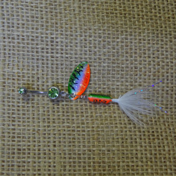 Green orange and white rooster tail from gunpowderwoman for Rooster tail fishing lure
