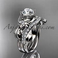 """Unique 14k white gold diamond flower, leaf and vine wedding ring, engagement set with a """"Forever One"""" Moissanite center stone ADLR224S"""