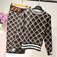 Fendi Autumn And Winter New Fashion More Letter Print Long Sleeve Top And Skirt Two Piece Suit