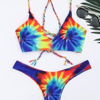 New Design Women Sexy Bikini Set Tie Dye Braided Criss Cross Swimsuit Spaghetti Straps Bathing Suit Swim Wear Hot Selling