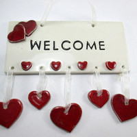 Ceramic wall decor/Welcome sign/Christmas gift/Ceramics and pottery/Wall hanging/Handmade/Housewarming Gift/Ceramic welcome tile/Red/Heart