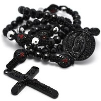 """Black Crystal Pave Round Beads Cross Rosary Men Bold Chain Necklace 37"""""""