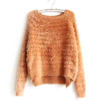 Petite Classic Knit Mohair Asymmetric Winter Fuzzy Sweater