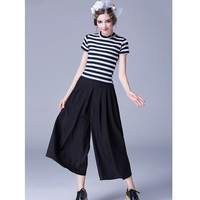 Striped Short-Sleeve Blouse and Wide Leg Pants