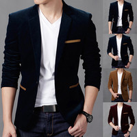 Slim Fit One Button Blazer