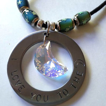 Statement Necklace: I love you to the moon w/Swarovski Crystal Moon Pendant & Mood Beads