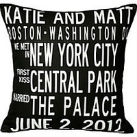 One Kings Lane - Personalized Gifts - Personalized Couple 16x16 Pillow, Black