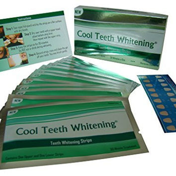Cool Teeth Whitening® 14 Treatments Advanced Professional 6% Hp Strength Dual Elastic Band Teeth Whitening Gel Strips Kit 28 Pcs - 2 Week Supply + Free Color Chart Guide Included - Hydrogen Peroxide Tooth Whitestrips By Cool Teeth Whitening®