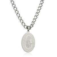 Stainless Steel Silvertone Mother Mary Micro Pendant with a 24 Inch Curb Chain Necklace