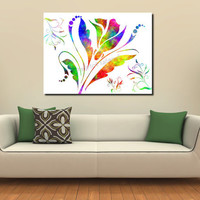 Large XXL Abstract Print Flowers Floral Rainbow Whisper Bright Colors 40x30 Limited Edition