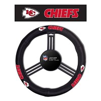 Kansas City Chiefs Steering Wheel Cover - Leather