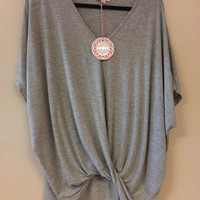 Umgee Women's High Low Twist Top Gray Small