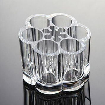 Clear Transparent Acrylic Flower Style Cosmetic and Makeup Brush Holder Stand with 12 Slot Spaces for Home Organization, Bathroom Accessory