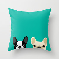 Boston Terrier & French Bulldog 2 Throw Pillow by Anne Was Here