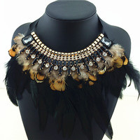 Burning Man Feather Statement Necklace