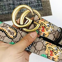 GUCCI new retro double G classic tiger print wild simple smooth buckle belt