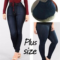 CANIS Summer Plus Size Casual Women Jeans Pant Women Stretch Casual Denim Skinny Jegging Pants High Waist Plus