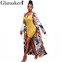 Glamaker Sexy floral beach cover up Long trench coat Women adjustable waist cool coat Femme floral coat trench summer 2017