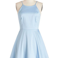 ModCloth Pastel Mid-length Spaghetti Straps Fit & Flare High Line Stroll Dress