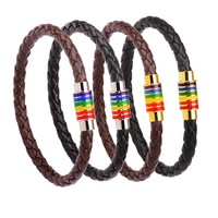 High Quality Rainbow Jewelry Charm Stainless Steel Accessories Gay Pride Bracelet Leather Chain For Gay Bangles