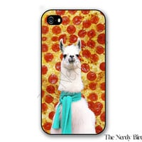 Llama and Pizza Background iPhone 4, 5, 5C, 6 and 6 plus and Samsung Galaxy s3, s4, and s5 Phone Case