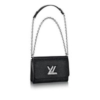 Authentic Louis Vuitton Epi Leather Twist MM Handbag Article: M50282 Noir Made in France