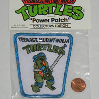 Vintage Teenage Mutant Ninja Turtles LEONARDO PATCH from the 80's.