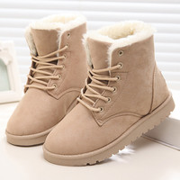 Women Boots Lace Up Fur Ankle Boots 2016 Fashion Winter Snow Boots Female Botas Femininas
