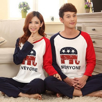 Blue and Red Elephant Indoor Homewear for Couple pyjamas
