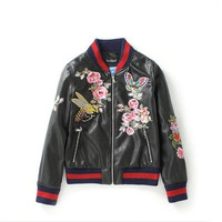 2016 Trending Fashion Leather Floral Printed Women Baseball  Sweater Cardigan Coat Jacket Outerwear _ 10011