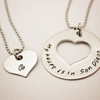 My heart is in San Diego - Long Distance Relationship Necklace Set - Hand Stamped Stainless Steel - Great for Deployments