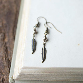tiny feather earrings: tiny feather, gold minimalist earring, small feather charm, bronze feather charm, metal feather, gold feather earring