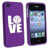 Apple iPhone 4 4S Purple Rubber Hard Case Snap on 2 piece Love Volleyball