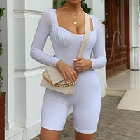 2020 new women's long-sleeved chest reduction sports jumpsuit